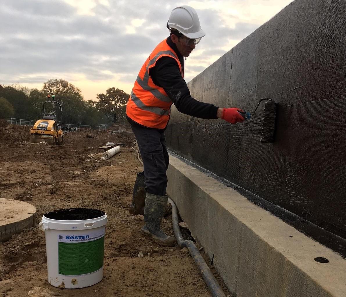 Waterproofing retaining wall