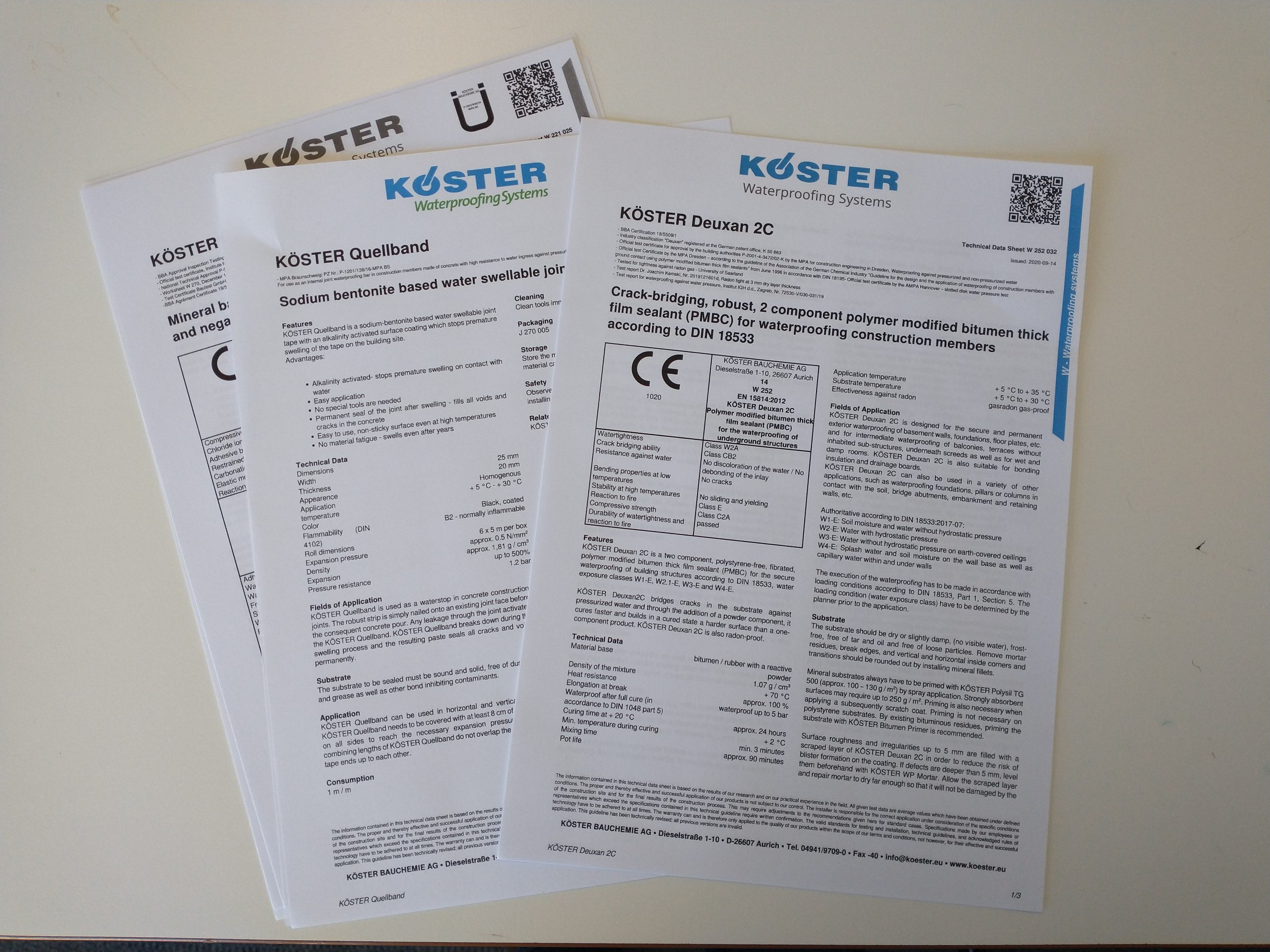 Koster Product Data Sheets